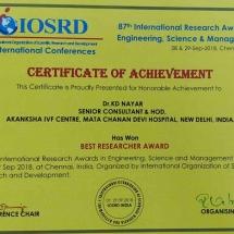 Certificate of Achievement Dr K D Nayar