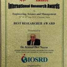 International Research Awards Dr K D Nayar